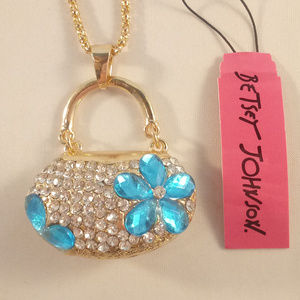 Betsey Johnson Bag Purse Gold Necklace + Free Gift